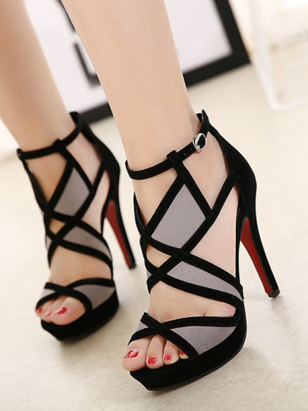 Damen Hollow-out Stiletto-Absatz Peep Toe Sandalen