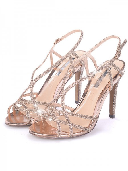 Damen Strass Stiletto-Absatz Peep Toe Sandalen