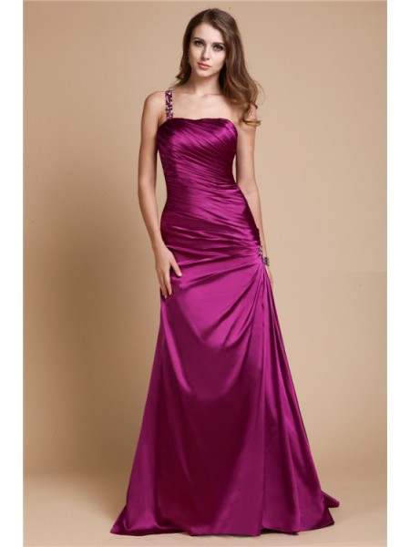 A-Linie/Princess-Linie One Shoulder Ärmellos Perlen verziert Lange Kleider mit Stretch-Satin