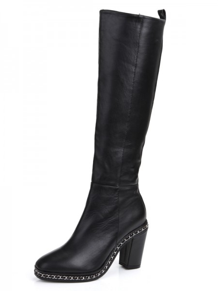 Cattlehide Leather Chunky Hacke Geschlossener Zeh mit Chain Knee High Stiefel
