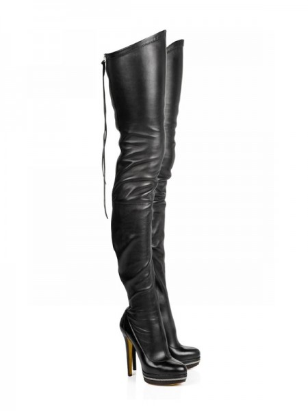 Elastic Leather Stiletto Hacke Platform Over The Knee Stiefel