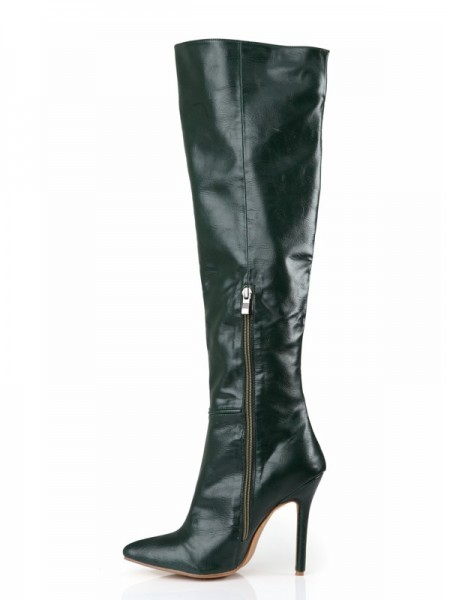 Cattlehide Leather Stiletto Hacke Geschlossener Zeh Knee High Hunter Green Stiefel